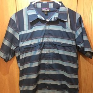 Patagonia Blue Striped Short Sleeve Button Down